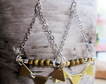 Triangle Brass Earrings, Gold and Silver, Geometric, Art Deco Jewelry, Modern, Pyramid Earrings, Beaded, Jewelry Set, Redpeonycreations
