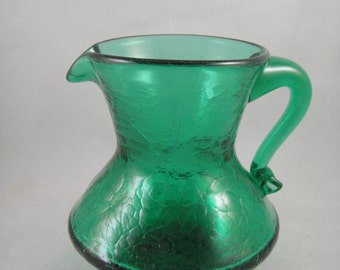 Crackle Glass Small Green Pitcher or Creamer