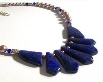 Lapis Necklace, Sapphire Blue, Lapis Gemstone, Bib Styled Necklace & Earring Set, Lapis Gemstone Necklace, Statement Necklace