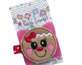 Gingerbread man hair clip, Christmas hair clip, holiday clippie, Christmas, toddler hair clip, hair accessory, hair clippies, baby barrettes