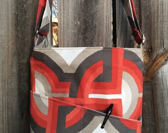 Cross Body Messenger Bag with zipper closure and lots of pockets - Orange and gray geometric