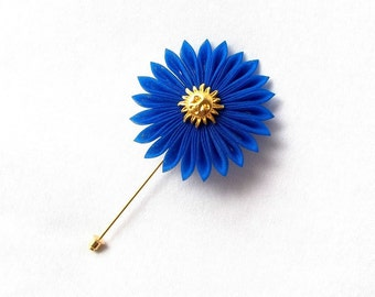 Royal Blue Kanzashi Flower Brooch Pin with Sun Motif Lapel Pin Boutonniere