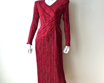 Vintage Mary McFadden Dress/Red Silk Fortuny Pleated Dress/Red Fortuny Pleat Evening Dress/1980's Mary McFadden Red Dress/Small-Medium