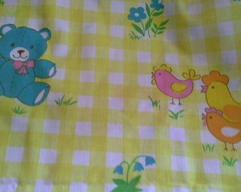 Novelty Print Gingham Print Dolls Toys, Animals Cotton Polyester Blend Fabric 1 Yard X0703