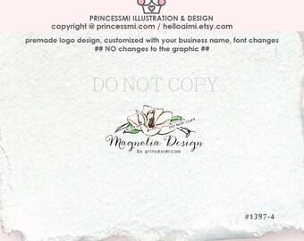 1397-4  Magnolia Logo Design , premade logo, Custom logo, photography logo, boutique logo, watermark, illustrated floral