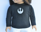 American Made Doll Clothes - Graphic Tee - Rebel Alliance, Rogue One, Star Wars, Top, Tshirt, Shirt, Black, AG Doll, 18 inch