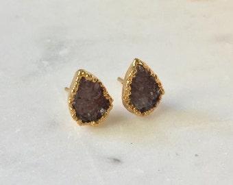 Brown Druzy Teardrop Stud Earrings-Studs, Druzy Earrings, Gemstone