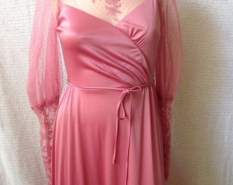 JC Penney Fashions special Occassion Dress, mauve, Lace, victorian, high neck, polyester, 5/6