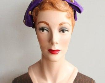 1940s Headband // Purple Velvet Studded Hair Piece // vintage 40s fascinator hair piece