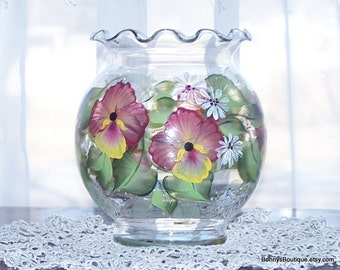 Ivy bowl vase burgandy yellow pansy