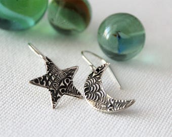 Silver Star and Moon Earrings