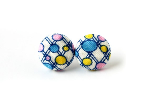 Tiny fabric earrings - tiny button earrings - bright stud earrings blue white yellow pink happy retro