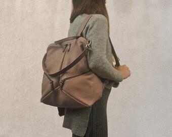 Handmade leather backpack,shoulder bag ,named IRIA ,made to order