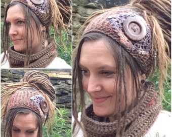 Crochet Dreadband, Massive Button, Headband, Dread Wrap, Hair band