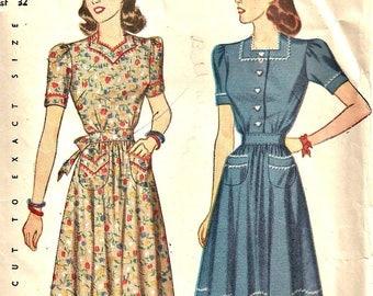 1940's Simplicity 4102 Pattern Women's Dress Size 14  Bust 32