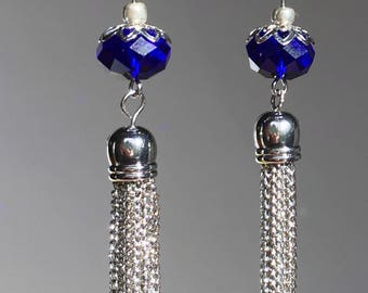 Blue and silver chain fringe earrings