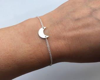 Moon bracelet, sterling silver bracelet, moon jewellery, lunar bracelet, silver moon, friendship bracelet, large moon bracelet