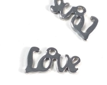 Love Charms, Stainless Steel, Tiny Drops, 12x6x1mm, Hypoallergenic, Non Tarnish, Lot Size 6 to 24, #1615