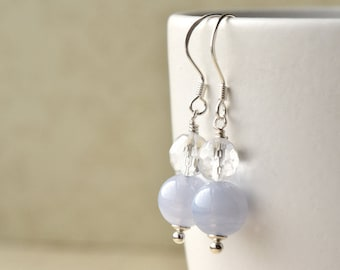 Crystal Earrings - Blue Lace Agate - Sterling Silver - Clear Quartz - Bridal Jewellery