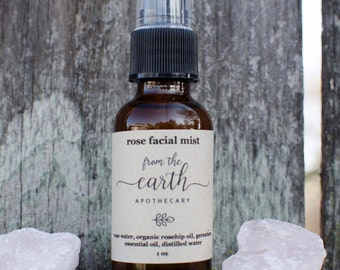 Rose Facial Mist | refreshing and hydrating facial toner, hand crafted with organic rosehip oil, rose water, geranium essential oil, spray