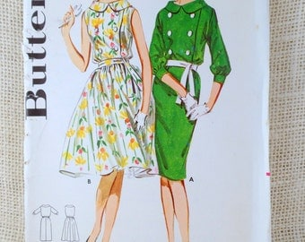 Vintage Pattern Butterick 3001 blousy double breasted portrait collar dress sewing wiggle 1960s Bust 32 sleeveless day dress Jackie Kennedy