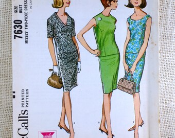 Vintage pattern McCall's 7630 Jackie Kennedy 1964 1960s slim suit pencil skirt two piece dress Mad Men Bust 32