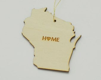 Natural Wood HOME Wisconsin State Ornament