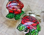 Hand Painted Glass Ornament, Rose Ornament, Beauty and the Beast, Red Rose, Christmas Ornament, Christmas Decor, Christmas Gift