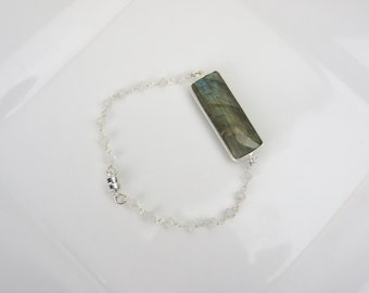 Handmade Labradorite Bar Magnetic Bracelet on Silver Moonstone Beaded Chain, Crystal Charm, Beaded Jewelry 450186