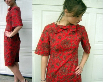 Vintage 60s Dress Adorable MadMen Style - Red Brown Black Print Smart & Cute S to M