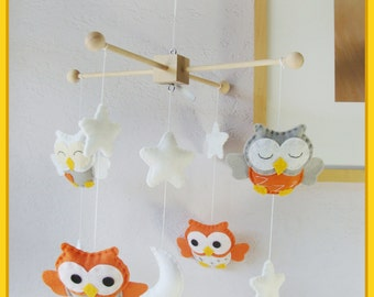 Owl Mobile,Baby Mobile ,Nursery Decor,Baby Room Decor,Orange and Gray Owls Mobile, Autumn Mobile, Custom Mobile