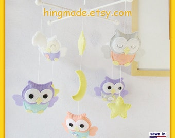 Baby Mobile, Owl Mobile, Baby Girl Nursery Mobile, Purple and Coral Owls , Yellow Moon n Stars Clouds Mobile, Match baby Bedding