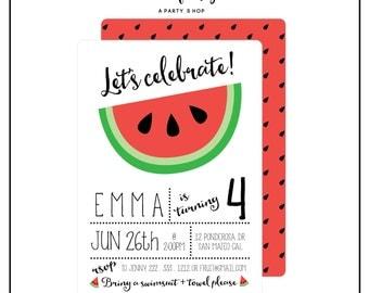 SALE - Watermelon Invitation -  Watermelon Invite - Watermelon Party - Watermelon Birthday Party // UNI - 01