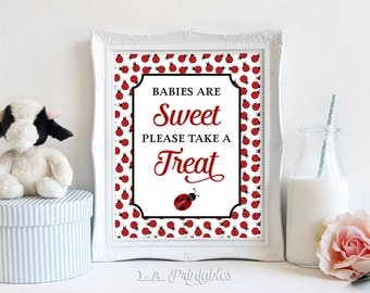 Babies Are Sweet Please Take a Treat Printable Sign, Ladybug Shower Favor Sign, Baby Girl Shower Sign, 2 Sizes, INSTANT DOWNLOAD