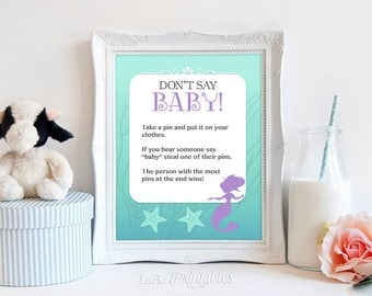 Don't Say Baby Printable Game Sign, Mermaid Baby Shower Game, Aqua & Purple, Diaper Pin Game, 2 Sizes, INSTANT DOWNLOAD