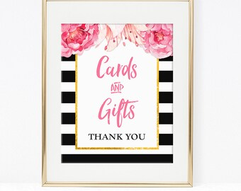 Cards and Gifts Shower Table Sign, Black & White Stripe Peony Bridal, Baby Floral Shower, 2 Sizes, DIY Printable, INSTANT DOWNLOAD
