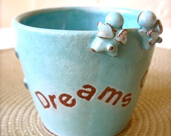 Dreams Come True - Twin Angel Turquoise Mug, Handmade Ceramic Mug