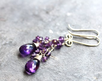 Amethyst Earrings Cluster Cascade Beaded Purple Gems, Sterling Silver Long February Birthstone