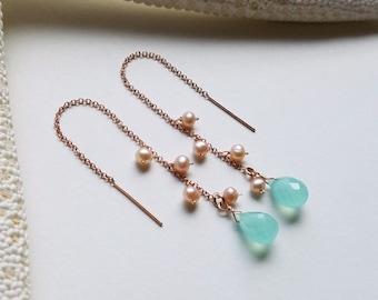Pink Mint Threader Earrings