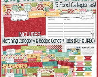 Printable RECIPE CARDS (Red), 5x7 Recipe Card Kit, Recipe Printables, Recipe Box, Recipe Card Box, Recipe Card Dividers - Instant Download