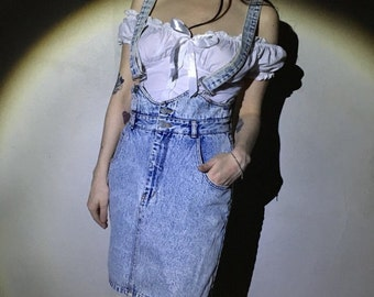 vtg 80s 90s blue acid wash denim overall skirt size medium