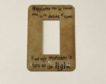 New PARCHMENT Happiness Can Be Found Quote Jumbo TOGGLE Light Switch Plate GFI Decora style Switchplate
