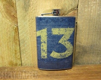 Limited Edition 13 Canteen Flask, Post Apocalyptic Gift, Stainless Steel Flask, Vinyl Wrapped, Retro Gamer Gift, Video Games