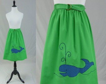 70s Green Skirt - Navy Blue Whale Applique - Nautical Novelty Skirt - Vintage 1970s - Small S