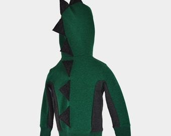 Dark Green and Gray Dinosaur Hoodie with Dark Gray Spikes - Sizes 12 Months through 5T available.