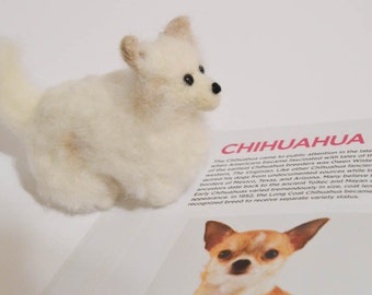 Felted Chihuahua - Custom Dog - Long Haired Chihuahua - Needle Felted Animal - Pet Portrait