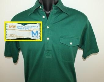 JCPenney vintage polo shirt dark green Small/Medium 70s 80s short sleeve collared