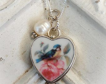 Blue Bird Pink Rose Broken China Jewelry Sterling Pendant Charm
