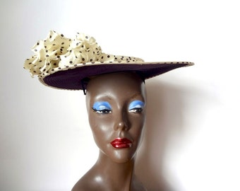 1940s Tilt Hat - vintage perch hat - velvet and polka dot wide brim topper with flower