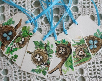 Mothers Day Tags Bird Nest and Eggs - Handpainted Assorted Set of Six